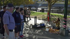 Melbourne street performer stock video footage
