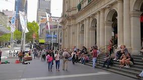 Melbourne Swanston Street tram station stock footage