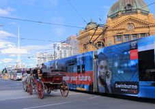 Melbourne tram and horse carriage Stock Image