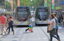 Melbourne tram jaywalker Royalty Free Stock Photography