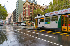Melbourne tramway on Elizabeth street on rainy weather. Melbourne, Australia - April 21, 2017: Melbourne tramway on Elizabeth street on rainy weather Royalty Free Stock Photography