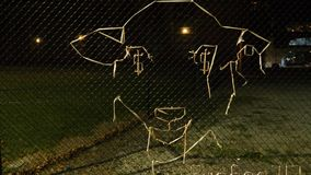 Melbourne, Victoria, Australia - April 22, 2018: Street art grass on fence in Melbourne, night time. Sheep with dollar sign in i stock video