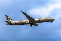Melbourne, Victoria, Australia - May 21, 2018: Etihad Airways Boeing 787 royalty free stock photos