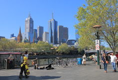 Melbourne waterfront cityscape Australia Stock Images