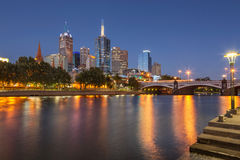 Melbourne waterfront on the Yarra River Royalty Free Stock Photo