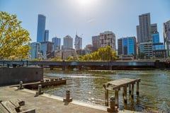 Melbourne widok od starego doku Zdjęcie Royalty Free