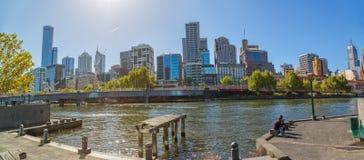 Melbourne widok od starego doku Zdjęcia Stock