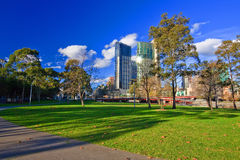 Melbourne at winter. Park on Yarra River Royalty Free Stock Photos