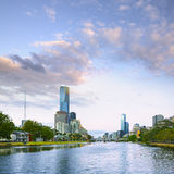 Melbourne and Yarra River. Melbourne skyline at dawn or twilight, looking over the Yarra River toward the CBD and Princes Bridge Stock Photography