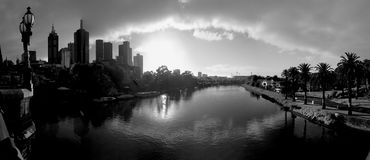 Melbourne with yarra river in black and white Royalty Free Stock Image
