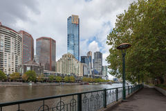 Melbourne Yarra river Eureka Tower foot path Royalty Free Stock Images