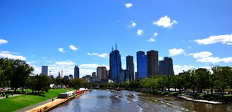 Melbourne Yarra River. A Melbourne icon, the river is the focus for numerous spectacular events including the famous Moomba festival, rowing regattas, the Royalty Free Stock Photo