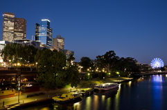 Melbourne yarra river at night Royalty Free Stock Images