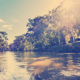 Melbourne Yarra River Vintage. The Yarra River flowing through Melbourne city, Australia with vintage filter Royalty Free Stock Photo