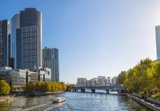 Melbourne z Sandridge poręcza mostem Fotografia Stock