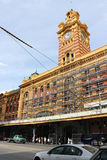 Melbournes Flinders Street Station is receiving heritage and refurbishment work as part of a government grant stock image