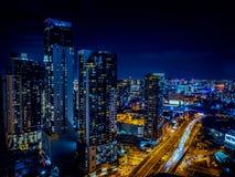 Melbpurne CBD przy nocą Obraz Stock