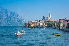 Melcesine, lake Garda, Italy. Panoramic view of Melcesine, lake Garda, Italy royalty free stock photography