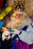 Melchior Biblical Magi. BARCELONA - JANUARY 5: Melchior King in the Big parade of the Biblical Magi Three Kings, who give toys to the children. Is a traditional Stock Image