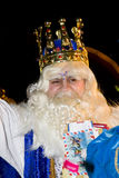 Melchior King. At the Biblical Magi Three Wise Men parade, who give toys to the children. Is a traditional spanish celebration. January 5, 2012 in Alella Royalty Free Stock Photos