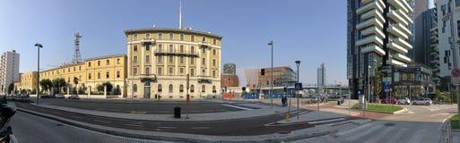 Melchiorre Gioia街道,概要,米兰,意大利 财务营房卫兵  地方伦巴第命令 免版税库存照片