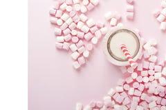 Melcocha colorida con la bebida de leche en fondo rosado Copyspa Foto de archivo libre de regalías