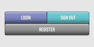 Melden Sie an, unterzeichnen Sie heraus und registrieren Sie Netzknopf-Ikonenvektor stock abbildung