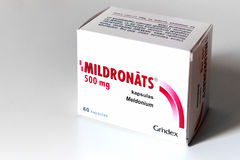 Meldonium (also known as Mildronate) packaging 500 mg. Riga, Latvia - August 29, 2016: Meldonium also known as Mildronate packaging 500 mg. Meldonium may be used royalty free stock photography