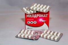 Meldonium lek dodający Światowa podaje doping Agencyjna ` listy rosjanina s zakazująca paczka Fotografia Stock
