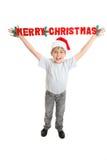 Meldung der Kind-frohen Weihnachten lizenzfreies stockfoto