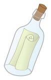 Meldung in einer Flasche lizenzfreie abbildung