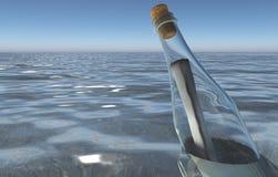 Meldung in einer Flasche im Meer lizenzfreie abbildung
