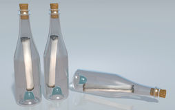 Meldungen in den Flaschen stock abbildung