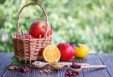 Mele, arancia, dadi, mirtillo rosso, limone, muesli ed uva passa Fotografia Stock