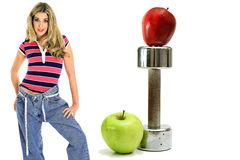 Mele di allenamento di perdita di peso Fotografie Stock