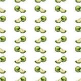 Mele di verde del fondo dell'acquerello e fette senza cuciture di mele su un fondo bianco Immagine Stock