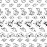 Mele e foglie disegnate a mano per l'anti pagina di coloritura di sforzo Modello senza cuciture per il libro da colorare Immagine Stock Libera da Diritti