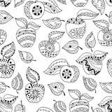 Mele e foglie disegnate a mano per l'anti pagina di coloritura di sforzo Modello senza cuciture per il libro da colorare Fotografia Stock Libera da Diritti