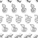 Mele e foglie disegnate a mano per l'anti pagina di coloritura di sforzo Modello senza cuciture per il libro da colorare Immagini Stock Libere da Diritti