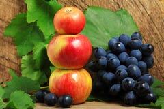 Mele e mazzo di uva immagini stock