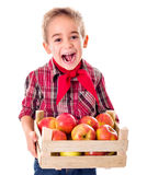 Mele felici della tenuta del ragazzo dell'agricoltore Immagini Stock Libere da Diritti