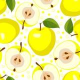 Mele gialle Fondo senza cuciture di vettore con le mele Fotografie Stock Libere da Diritti