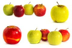 Mele mature su un fondo bianco, isolato, mele su fondo isolato immagine stock