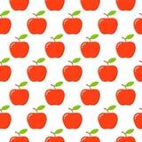 mele Modello senza cuciture con le mele rosse su bianco Priorità bassa della frutta royalty illustrazione gratis