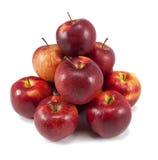 Mele rosse isolate su bianco Fotografia Stock