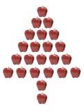 Mele rosse organizzate nella figura dell'albero di Natale Immagini Stock Libere da Diritti