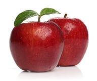 Mele rosse sane delizia sopra bianco Immagine Stock