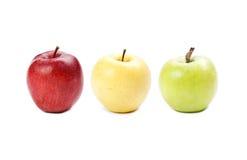 Mele variopinte Frutti colorati gialli, rossi, verdi Concetto differente di colori Varia vista matura fresca di macro della mela  Immagini Stock Libere da Diritti