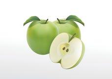 Mele verdi su un fondo bianco Fotografia Stock Libera da Diritti