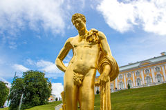 Meleager Of Belvedere. The sculpture of the Big cascade in Peterhof. Stock Photo